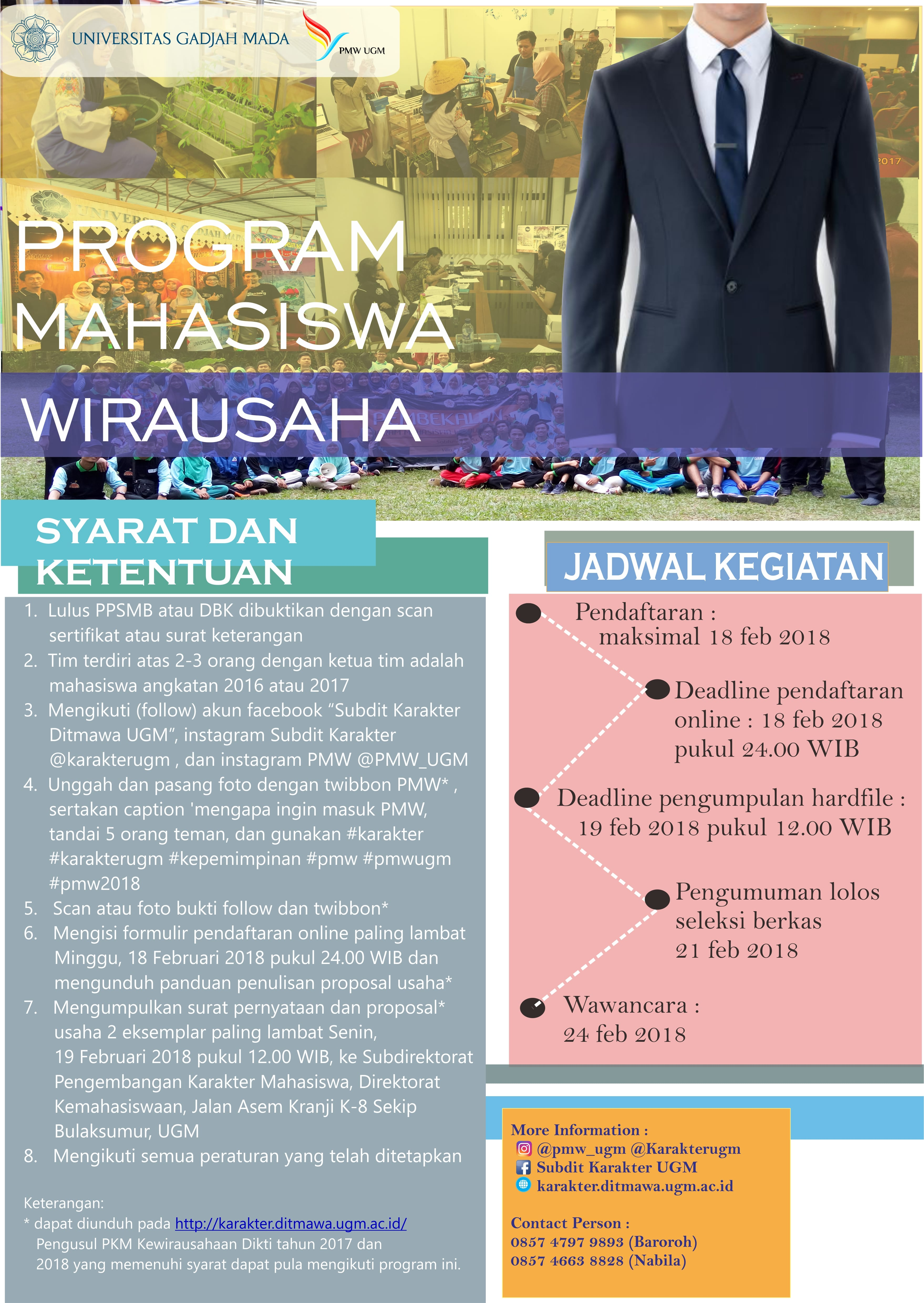 [INFORMASI] PENDAFTARAN PROGRAM WIRAUSAHA MAHASISWA (PMW) 2018