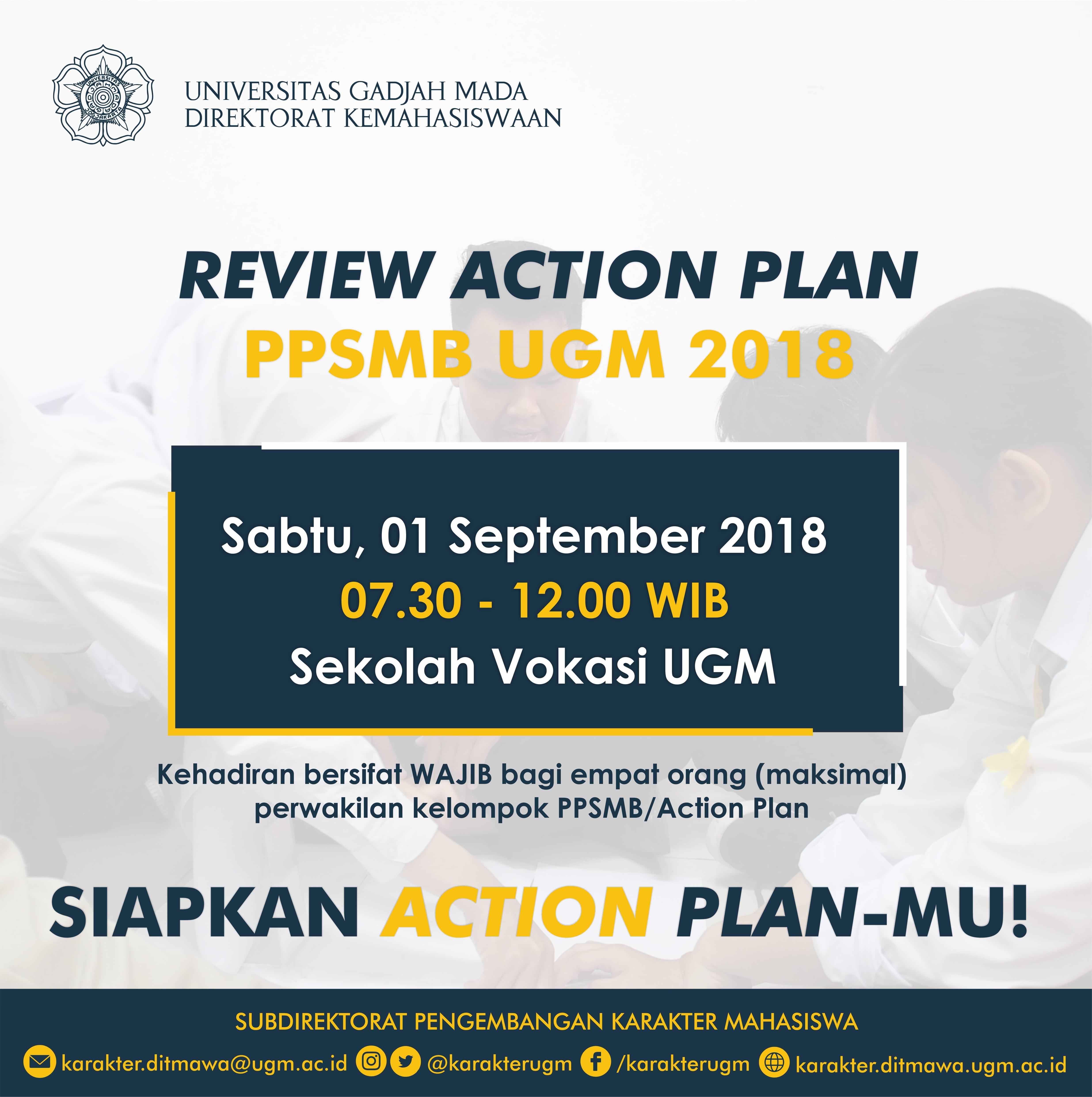 [PENGUMUMAN] Review Action Plan PPSMB UGM 2018