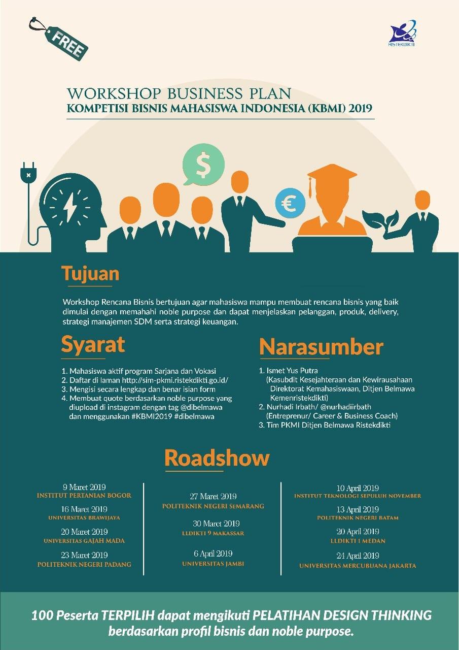 Workshop Business Plan Kompetisi Bisnis Mahasiswa Indonesia (KBMI) 2019